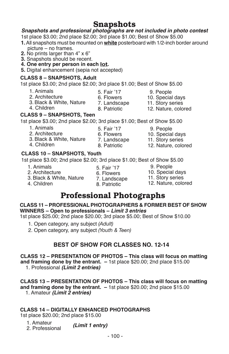 Amateur contests for photography